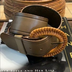 📌 Linea Pelle Braided Buckle Wide Leather Belt
